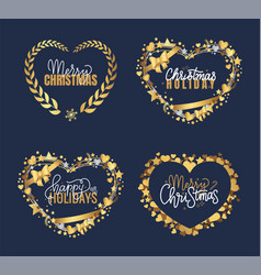 new year merry bright wishes lettering doodles vector image