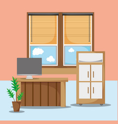 Office flat with desk and work accessories vector