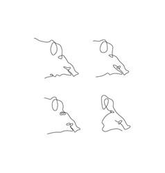 one line pig head design silhouette logo design vector image