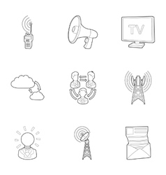 Online icons set outline style vector image
