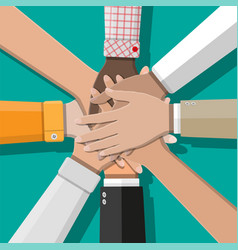 people showing unity with their hands together vector image