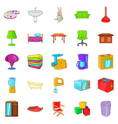 piece of furniture icons set cartoon style vector image