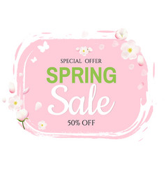 pink stain with flowers sale banner vector image