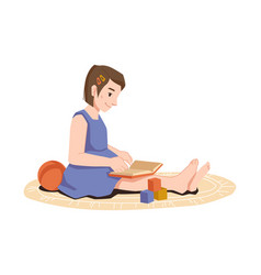 preschool girl sitting on carpet book and toys vector image