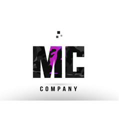 Purple black alphabet letter mc m c logo vector