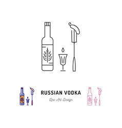 Russian vodka bottle russian food and drink vector