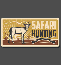 Safari hunting banner with african animal and gun vector