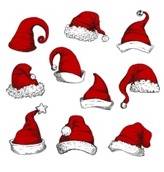 Santa christmas red hats set vector