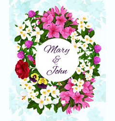 save date wedding flowers invitation vector image