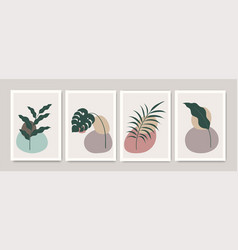 set abstract hand painted mid century posters vector image