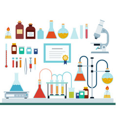 set medical laboratory flat vector image