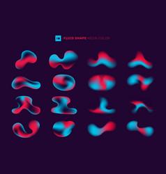 Set modern abstract gradient fluid shape neon vector