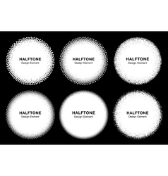 Set of 6 White Abstract Halftone Dots Circles vector