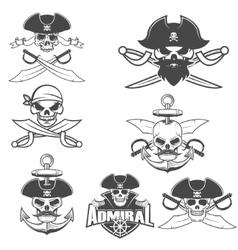 Set of pirate skulls vector
