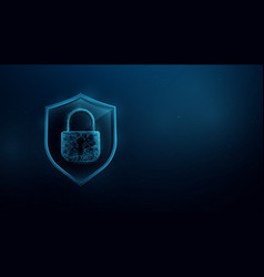 shield with padlock low poly style design vector image