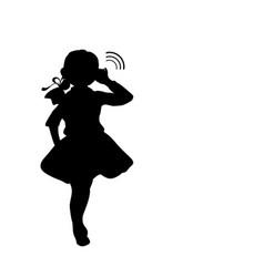 silhouette girl holds hand near ear listening vector image