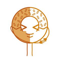 Silhouette kawaii cute funny donut dessert vector