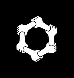 six hands holding each other team work unity vector image