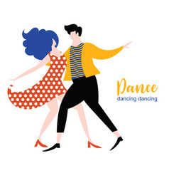 stylized figures dancing woman and man couple vector image