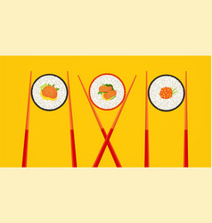 sushi roll with salmon and wooden chopsticks vector image