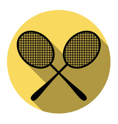 Tennis racquets sign flat black icon with vector