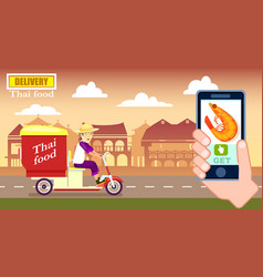 Thai fast food delivery poster with courier vector