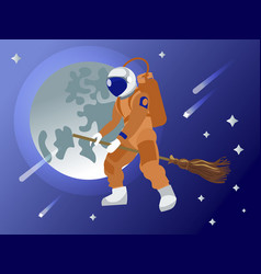 the astronaut flies on a broomstick in outer space vector image