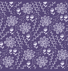 trendy floral pattern with flowers and herbs vector image
