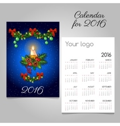 Two-sided calendar with Christmas decoration vector