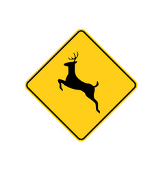Usa traffic road sign deer crossing ahead vector