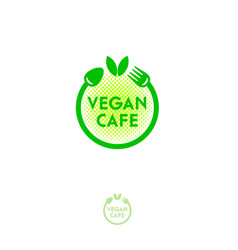 Vegan cafe logo green food emblem vector