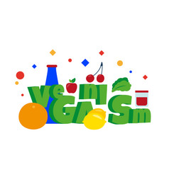 veganism word organic healthy food vector image