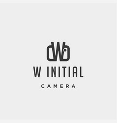 w initial photography logo template design vector image