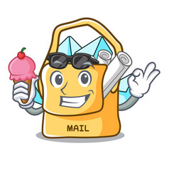With ice cream the bag with shape mail cartoon vector