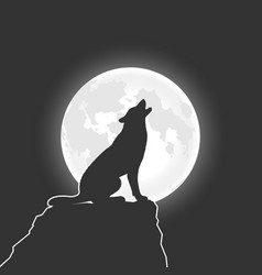 Wolf and moon vector