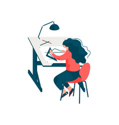 Woman architect sitting at desk working on vector