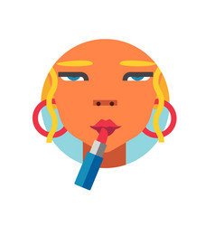 woman use lipstick for her lips vector image