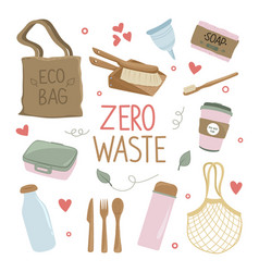 zero waste and eco friendly products set vector image