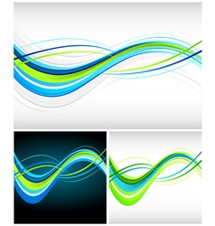 blue and green flowing lines vector image vector image