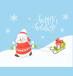hapy snowman with sled vector image