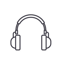 headphones line icon sign on vector image