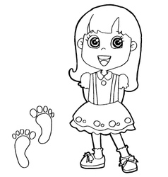 kid with paw print Coloring Pages vector image vector image