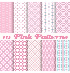 Pink different seamless patterns vector image vector image