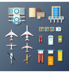 Airport Transport And Facilities Elements vector image