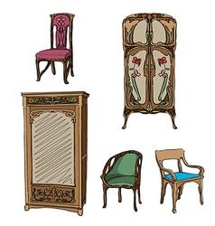 art nouveau furniture vector image vector image