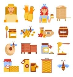Honey Beekeeping Icon Set vector image