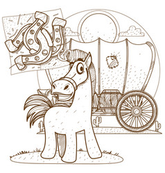 horse outline drawing for coloring of childrens vector image vector image