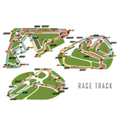 Race tracks for brazil and italy arab emirates vector