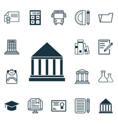 set of 16 education icons includes education vector image vector image