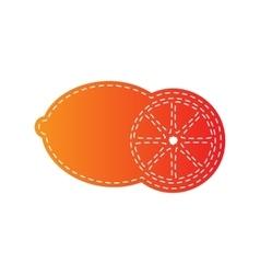 Fruits lemon sign Orange applique isolated vector image vector image